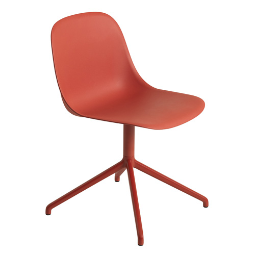 Fiber Side Chair Swivel Base Dusty Red