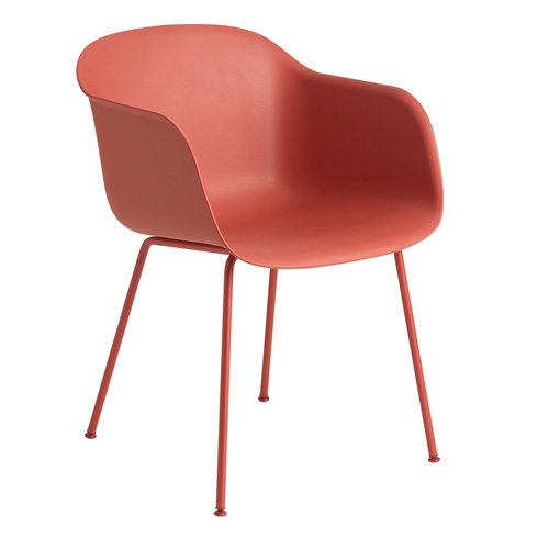 Fiber Armchair Tube Base Dusty Red