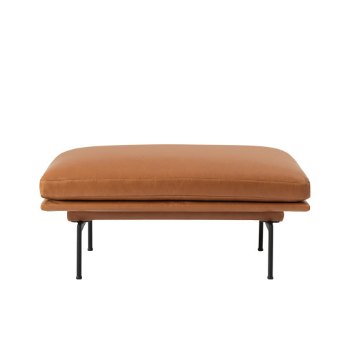 Outline Sofa Pouf Silk leather Cognac