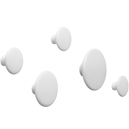 The Dots Coat Hooks Set of 5 White