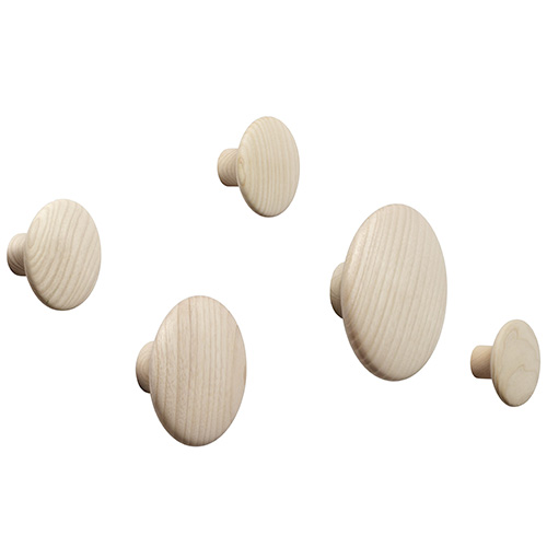 The Dots Coat Hooks Set of 5 Oak [주문 후 3개월 소요]