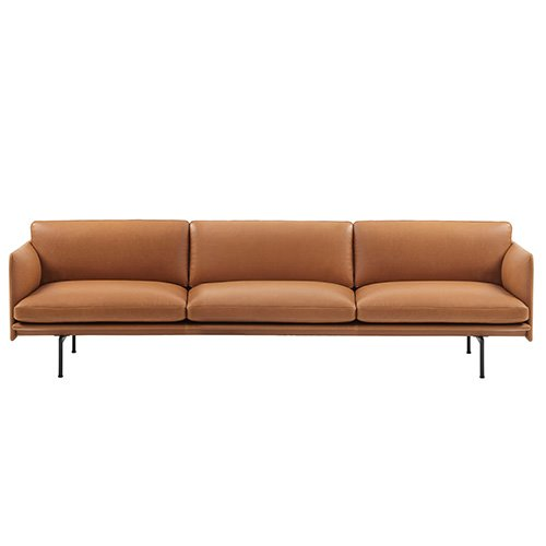 Outline Sofa 3 1/2-Seater Silk Leather Cognac
