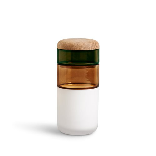 Pi-No-Pi-No Vase Opal White/Bronze /Green