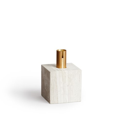 Block Candle Holder Light Fossil