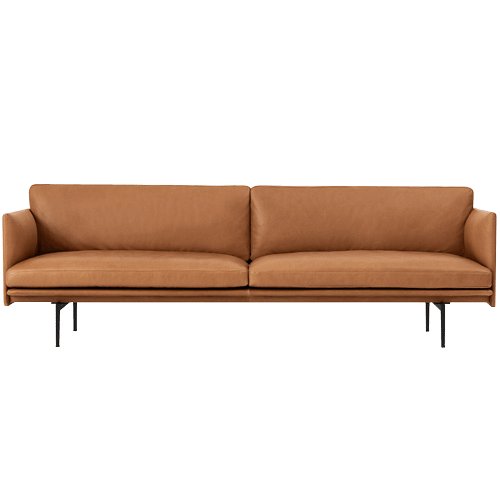 Outline Sofa 3-Seater/Black Base Refine Leather Cognac