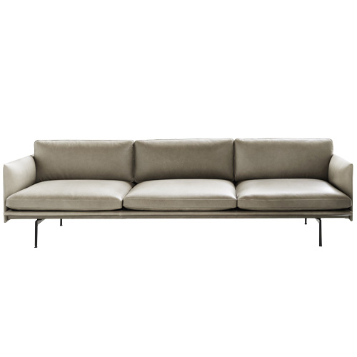 Outline Sofa 3 1/2-Seater Refine Leather Stone