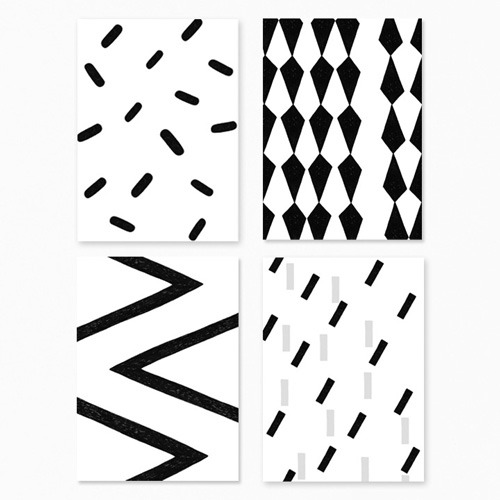 Black And White Postcards - Set Of Four (30% sale)