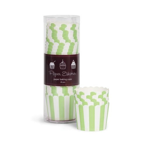 Baking Cup Green Apple Stripes