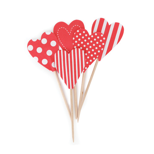 Cupcake Toppers CandyCaneHearts [1+1]