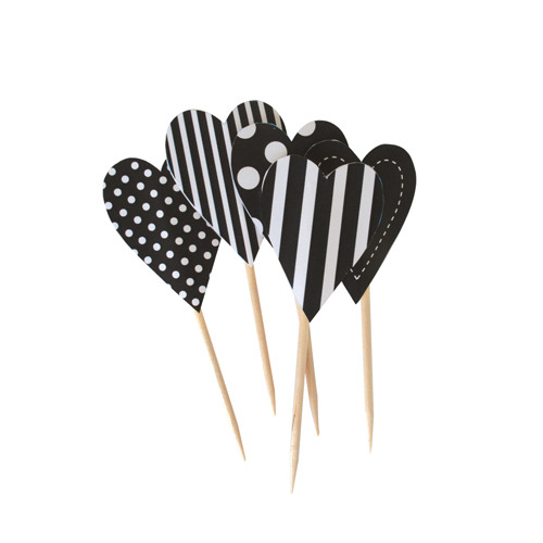 Cupcake Toppers Black Tie Hearts