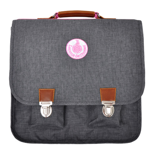Cartable Vintage Gris bande rose