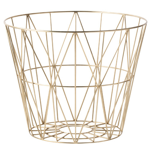 Wire Basket Brass Large