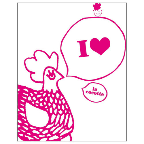 Tea towel -I love Cocotte white (50% sale)