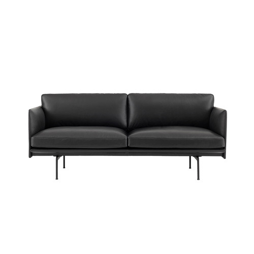 Outline Sofa 2-Seater Silk Leather Black