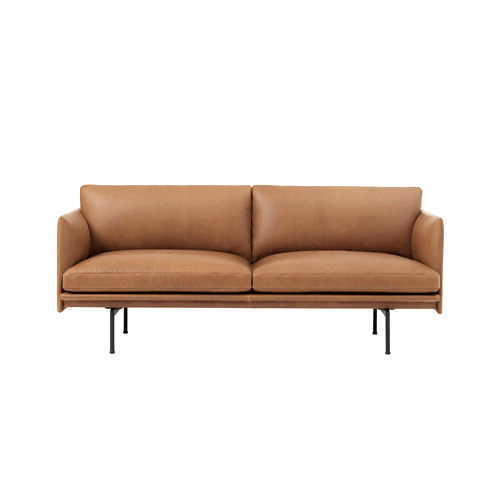 Outline Sofa 2-Seater Silk Leather Cognac