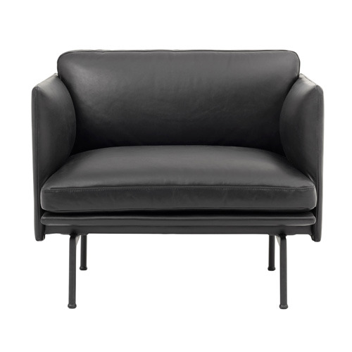 Outline Chair Silk Leather Black