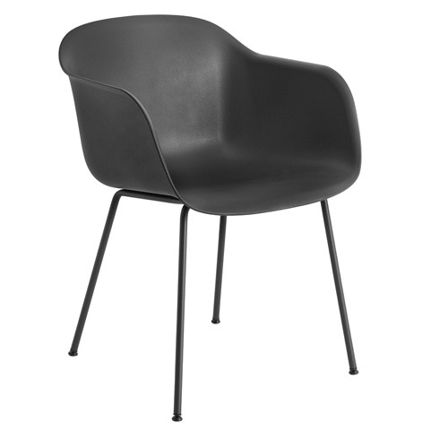 Fiber Armchair Tube Base Black