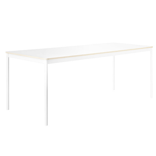 Base Table White/White Laminate/Plywood 190x85cm