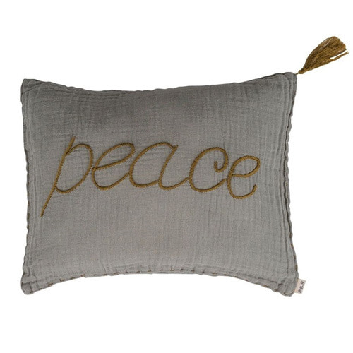 Cushion Message Peace Stone Grey