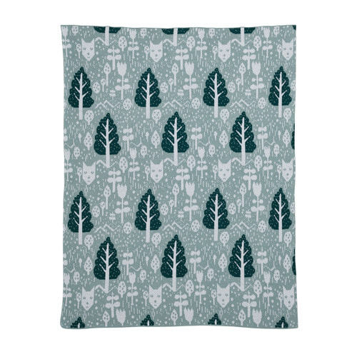 Fox in the Woods Cotton Mini Blanket Duck Egg