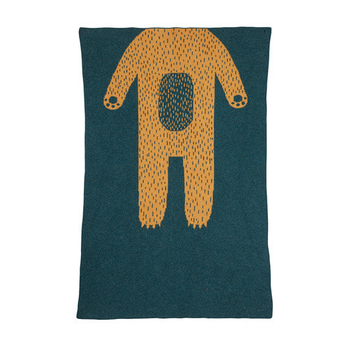 Bear Mini Blanket Green Gold