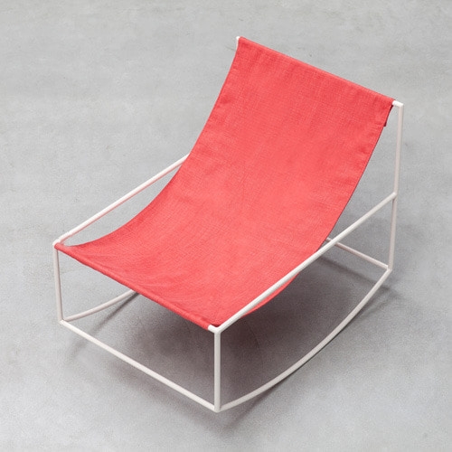 Rocking Chair White Frame/Red