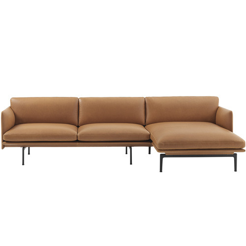 Outline Sofa Chaise Longue Silk Leather