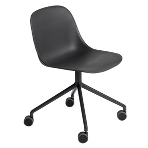 Fiber Side Chair Swivel Base W. Castors Black