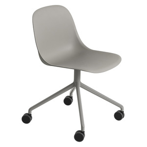 Fiber Side Chair Swivel Base W. Castors Grey