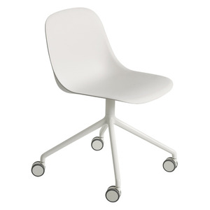 Fiber Side Chair Swivel Base W. Castors White