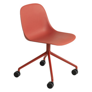 Fiber Side Chair Swivel Base W. Castors Dark Red