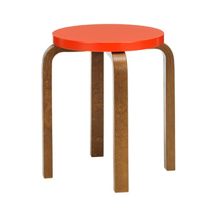 Stool E60 Bright Red/Walnut Stained Birch