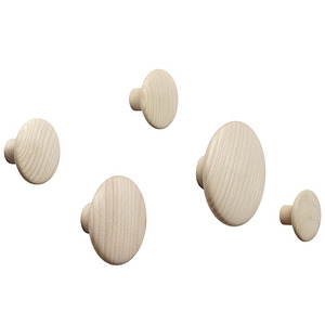 The Dots Coat Hooks Set of 5 Oak