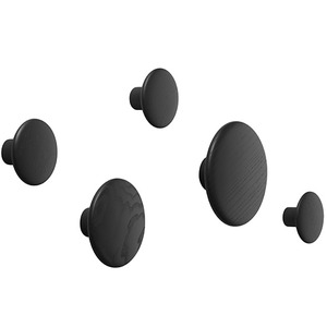 The Dots Coat Hooks Set of 5 Black