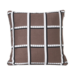 Salon Cushion Checked Taupe
