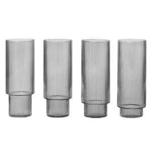 Ripple Long Drink Glasses Set of 4 Smoked Grey