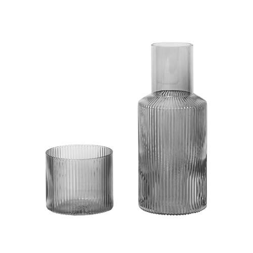 Ripple Carafe Set Small Smoked Grey