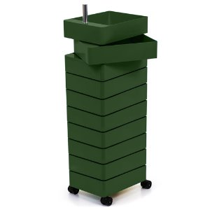 360° Container 10 Drawers Green