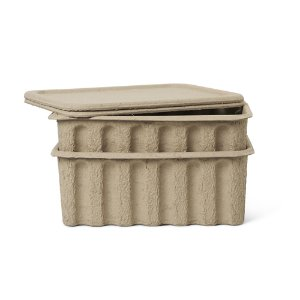 Paper Pulp Box Large Set of 2 Brown