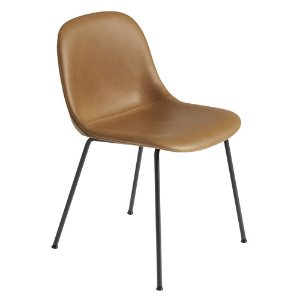 Fiber Side Chair Tube Base Cognac Refine Leather/Black