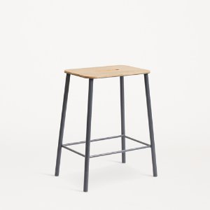Adam Stool Oak/Matt Grey H50