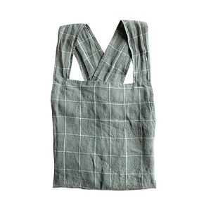 Japanese Apron Adult Green Grey Checks