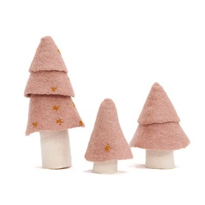 Christmas Tree Set of 3 Quartz Pink