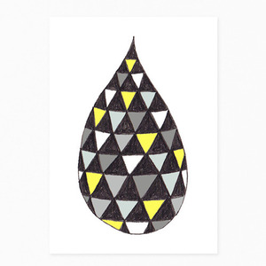Monochrome/Yellow Drop Postcard