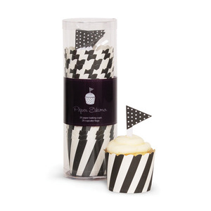 Baking Cup Toppers Black Candy Stripes [1+1]