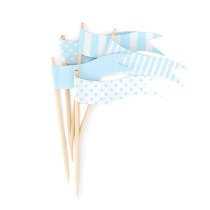 Cupcake Toppers Powder Blue Flags [1+1]