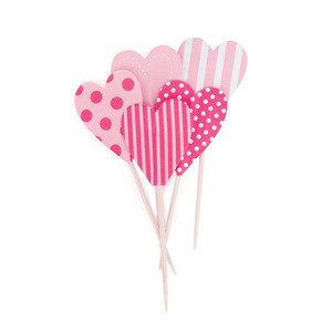 Cupcake Toppers Pink Floss Hearts [1+1]