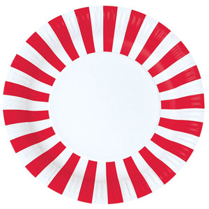 Paper Plates Candy Cane Red [1+1]