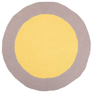 Yellow Bulls eye floor rug