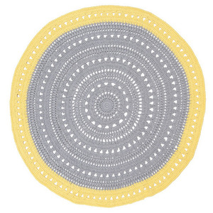 Grey and Yellow round floor rug